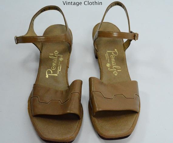 1982 Penaljo Tan Sandals, New Old Stock, 1980s Sandals, Tan Sandals, 1980s Brown Sandals, 1980s Shoes, Vintage Sandals, Penaljo Shoes