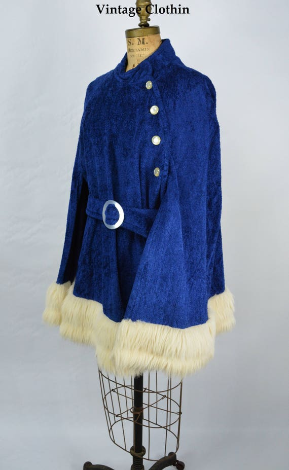 1960s Blue Cape with Fur Hem Trim, Cape, Caplet, 1