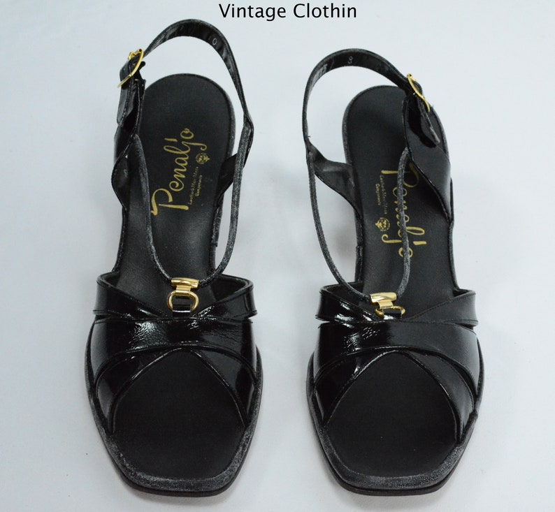 696ec96d13a22 1980s Penaljo Black Patent Peep Toe Sandals New Old Stock | Etsy