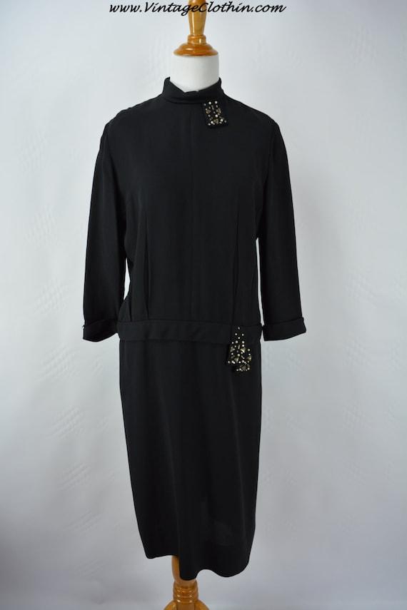 1940s does 1920s Black Dress Rhinestone & Beaded … - image 3