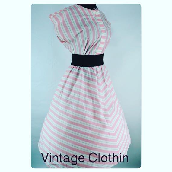 1980s does 1950s Tabby Striped Rockabilly Dress, V
