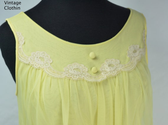 1960s Komar Yellow Baby Doll Nightgown, Nightgown… - image 7