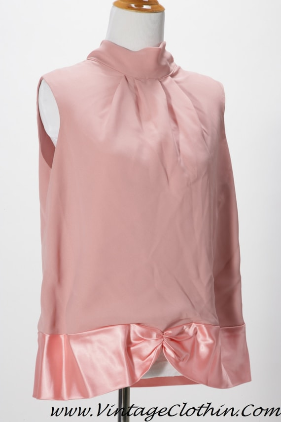1980s/1990s Sheer Pink and Satin Blouse/Top, Vinta