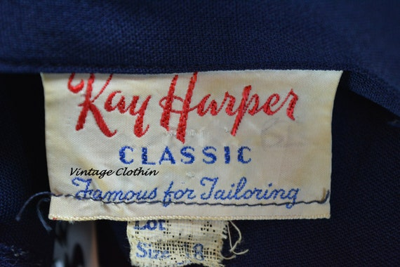 1940s Kay Harper Classics Navy Embroidered Dress … - image 5