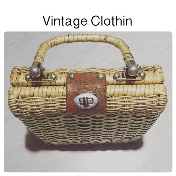 C1950s Brown Wicker Purse, Wicker Purse, 1950s Pur
