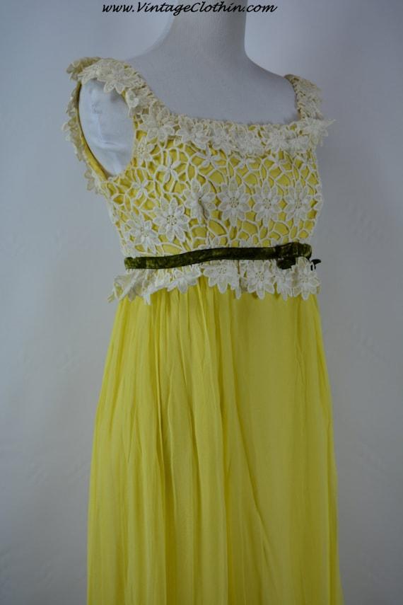 1960s Nadine Yellow Chiffon, Taffeta and Lace Prom