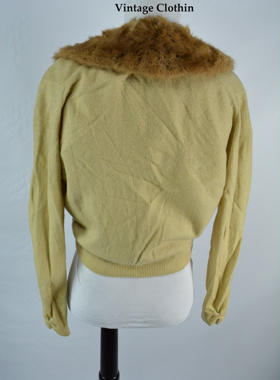 C1950s Cashmere Cardigan with Mink Collar, Vintag… - image 4