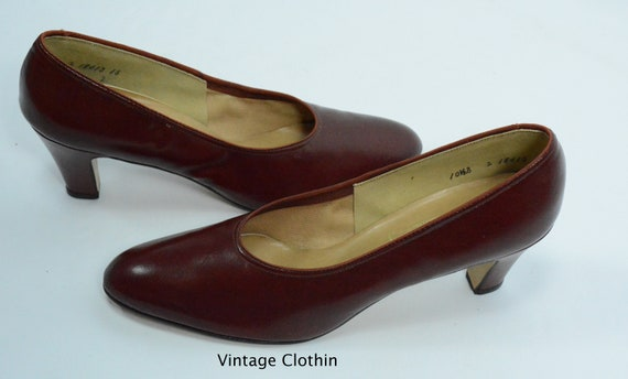 1980's does 1950s Penaljo Wine Color Pumps, New O… - image 3