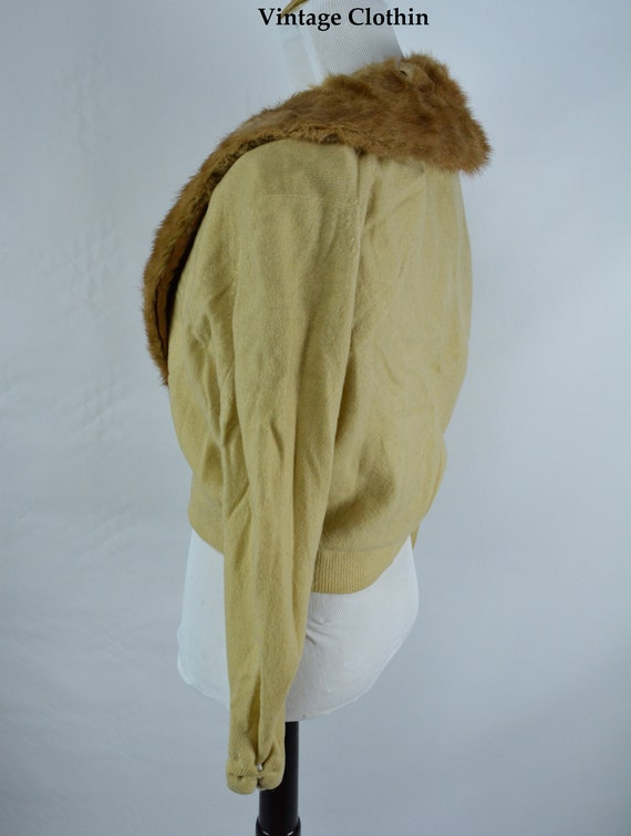 C1950s Cashmere Cardigan with Mink Collar, Vintag… - image 6