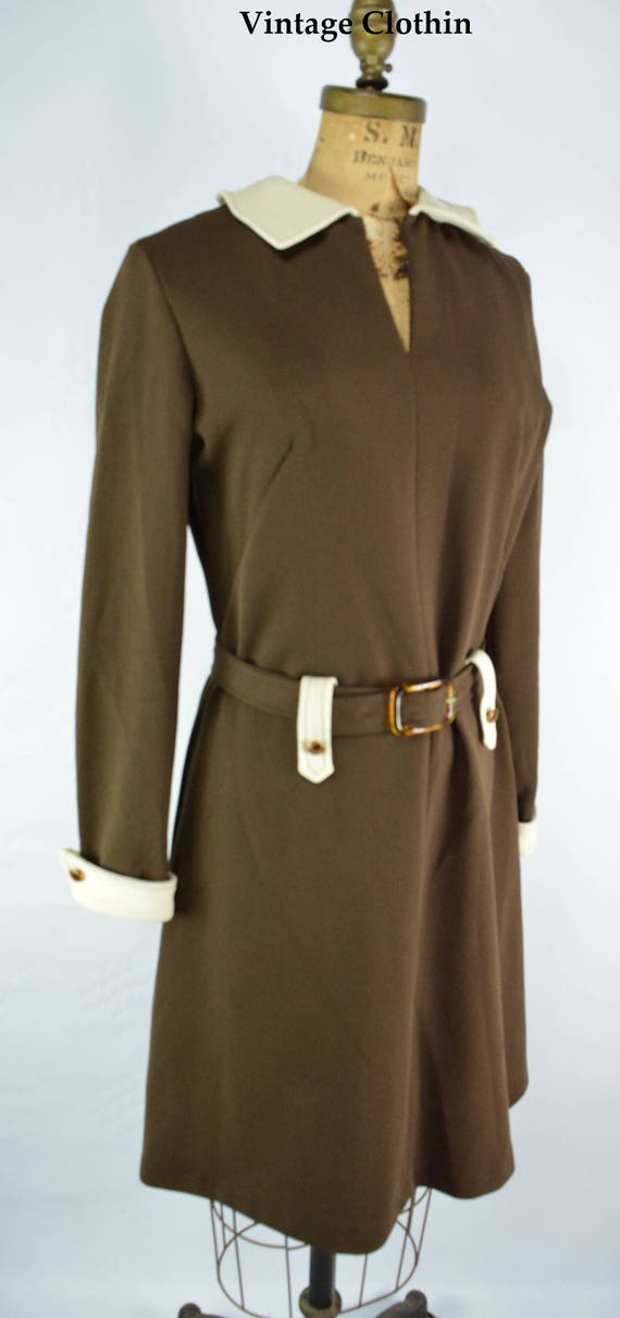 1960s Brown and Cream Dress, 1960s Dress, Vintage