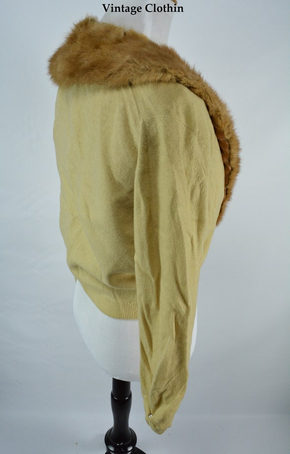 C1950s Cashmere Cardigan with Mink Collar, Vintag… - image 3