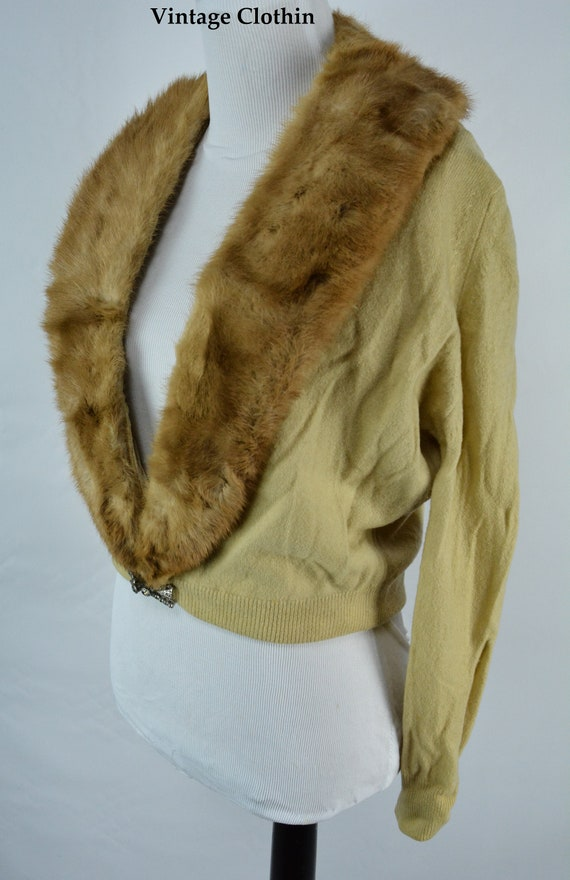 C1950s Cashmere Cardigan with Mink Collar, Vintag… - image 5