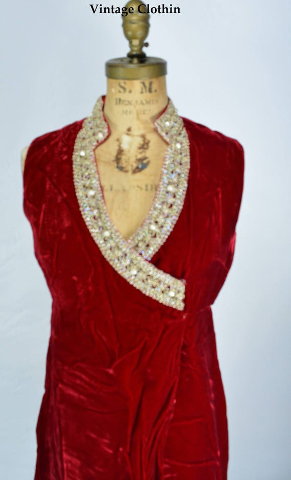 1960s Red Velvet Brocade Mini Dress, 1960s Dress,