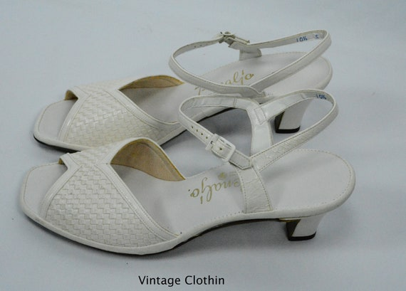 927a672a8faa4 1981 Penaljo White Woven Peep Toe Sandals New Old Stock | Etsy
