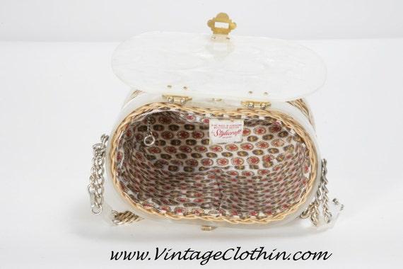 1950s Stylecraft Miami Lucite Basket Wicker Box P… - image 3