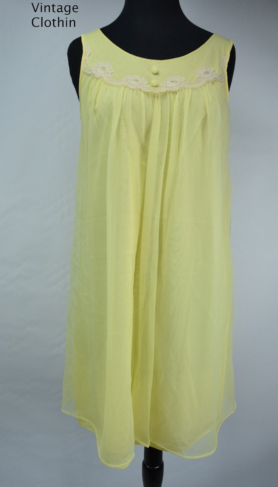 1960s Komar Yellow Baby Doll Nightgown, Nightgown… - image 4