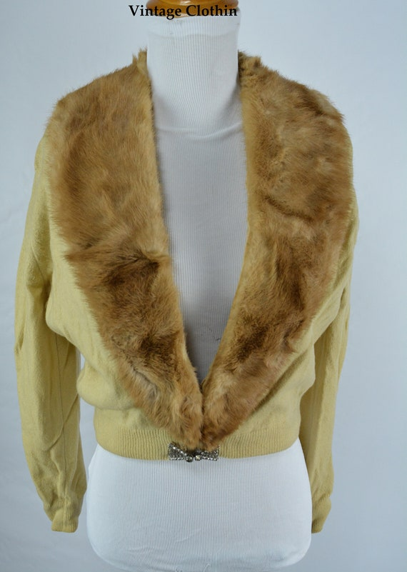 C1950s Cashmere Cardigan with Mink Collar, Vintag… - image 10