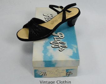 1981 Pillow Puffs Black Peep Toe Sandals, New Old Stock, 1980s Sandals, Black Sandals, 1980s Shoes, Vintage Sandals, Pillow Puffs Shoes