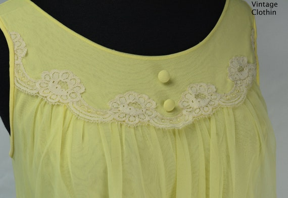1960s Komar Yellow Baby Doll Nightgown, Nightgown… - image 9