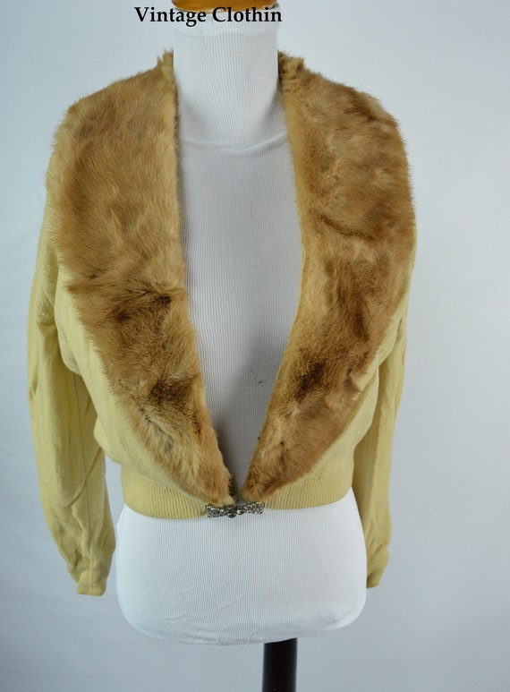 C1950s Cashmere Cardigan with Mink Collar, Vintag… - image 2