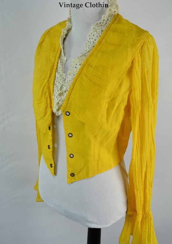 C1970s Tickles Yellow Corset Blouse, Waistcoat, Co