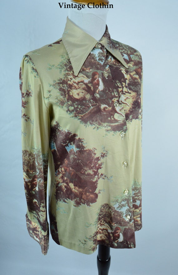 1970s Jantzen Novelty Print Blouse, Shirt, 1970s B