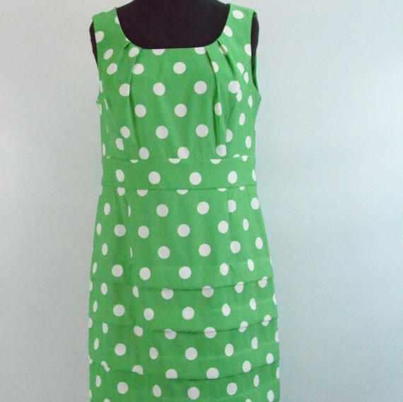1980s does 1950s Green & White Polka Dot Wiggle Dr