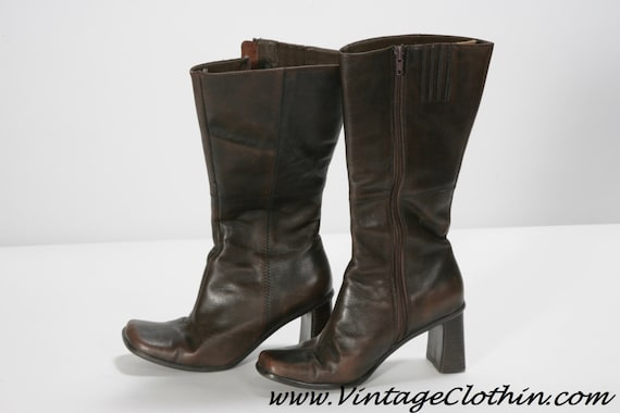 1970s Mod Square Toe Brown GO GO Boots, Vintage Bo