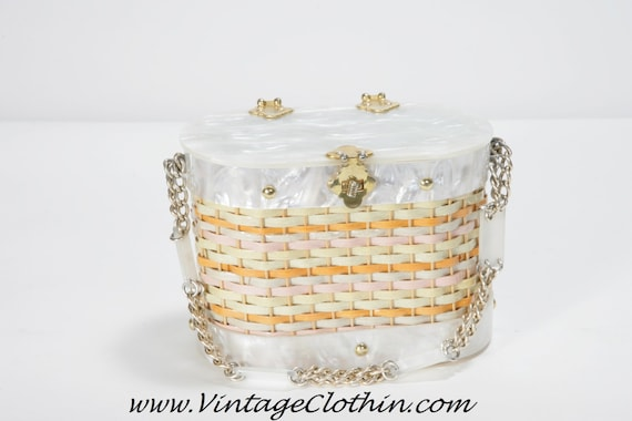 1950s Stylecraft Miami Lucite Basket Wicker Box Pu