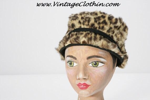 1960s Faux Fur Mod Leopard Print Jockey Hat, Mod … - image 1