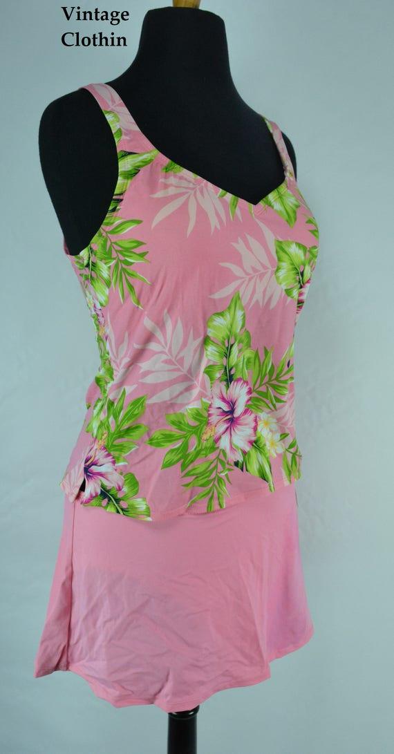 1990s Jantzen Pink Two Piece Bathing Suit, Bikini… - image 1