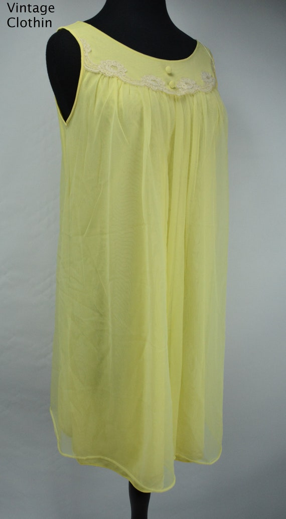 1960s Komar Yellow Baby Doll Nightgown, Nightgown,