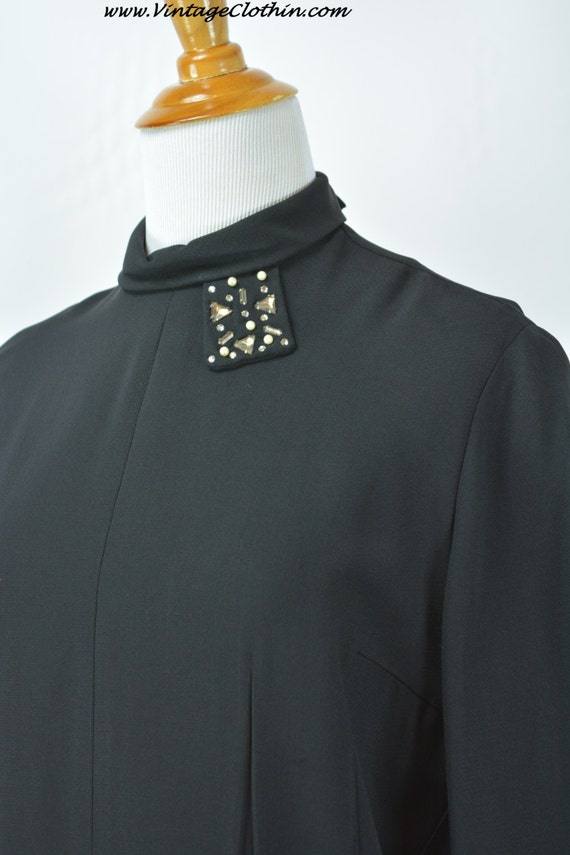 1940s does 1920s Black Dress Rhinestone & Beaded D