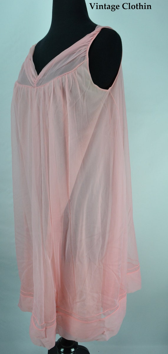 1960s Pink Baby Doll Nightgown, Nightgown, Vintage