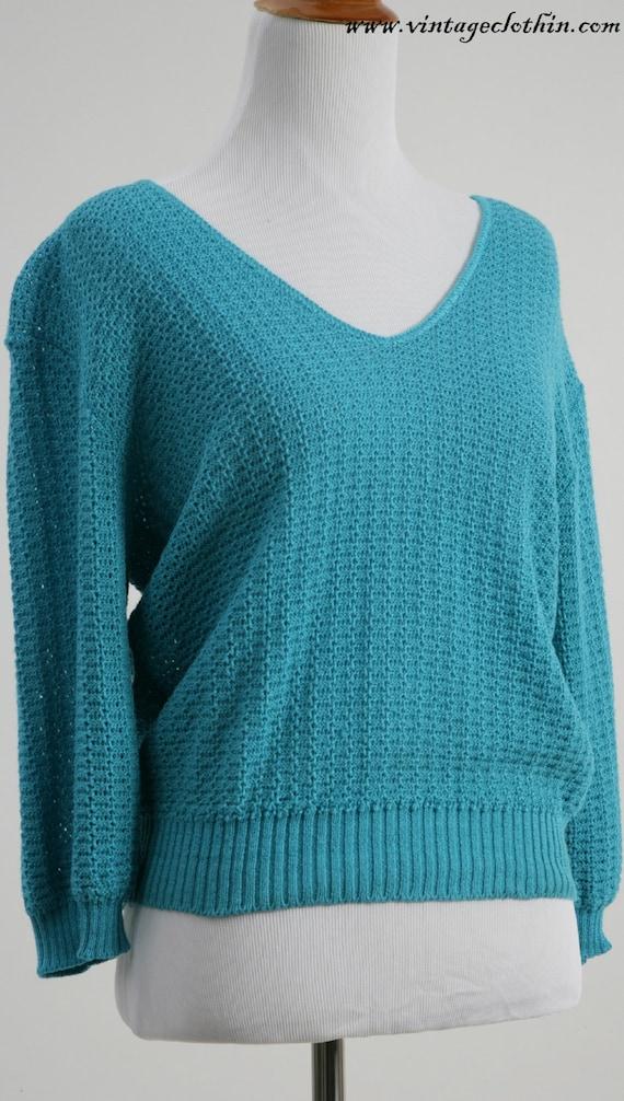 1980s - 1990s Fishnet Knit Teal Top, Vintage Top,