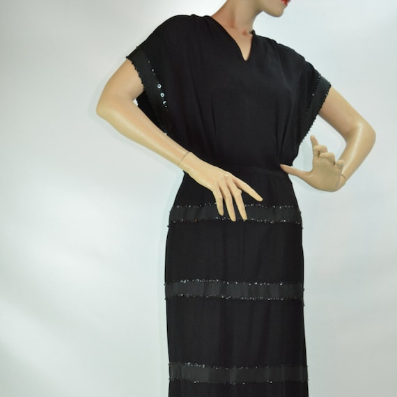 Rare 1940s Black Rayon, Crepe and Sequin Evening G