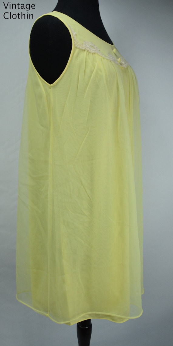 1960s Komar Yellow Baby Doll Nightgown, Nightgown… - image 2
