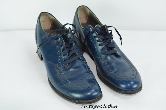 1940s Barefoot Freedom Leather Blue Oxford Shoes,