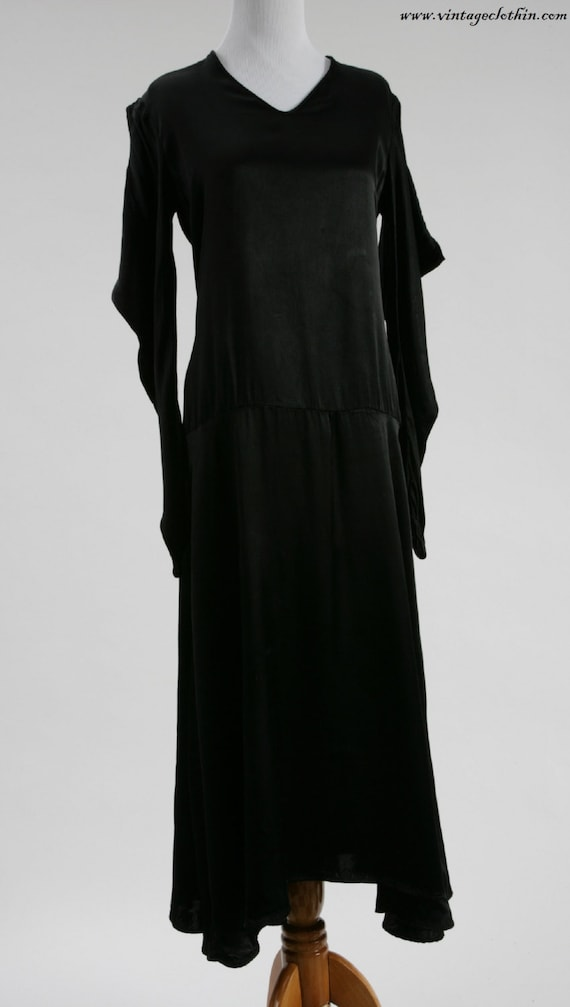 1920s Avant Garde Black Satin Dress, 1920s Dress,