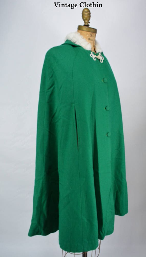 1960s Green Wool Cape with Hood and Fur Trim, Wool