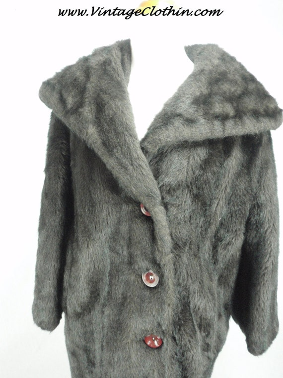1950s/1960s Vintage Faux Fur Brown/Black Coat, Vin