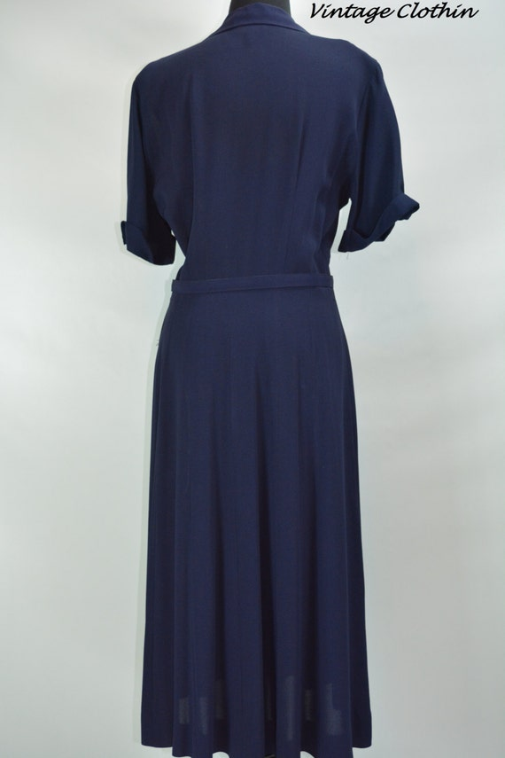 1940s Kay Harper Classics Navy Embroidered Dress … - image 4
