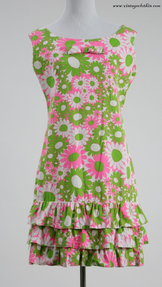 1960s Mod Flower Patterned Dress, Shift Dress, 196
