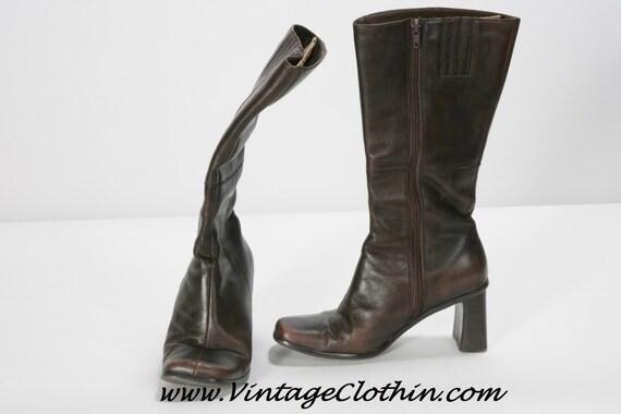 1970s Mod Square Toe Brown GO GO Boots, Vintage B… - image 2