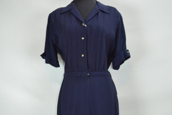 1940s Kay Harper Classics Navy Embroidered Dress w