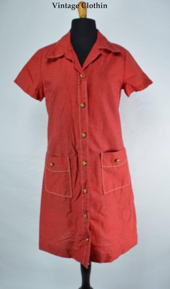C1970s Montgomery Ward Red Dress, 1970s Dress, 70… - image 2