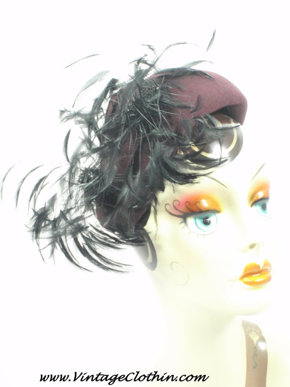 1940s Felt Cocktail Hat with Feathers, 1940s Hat,