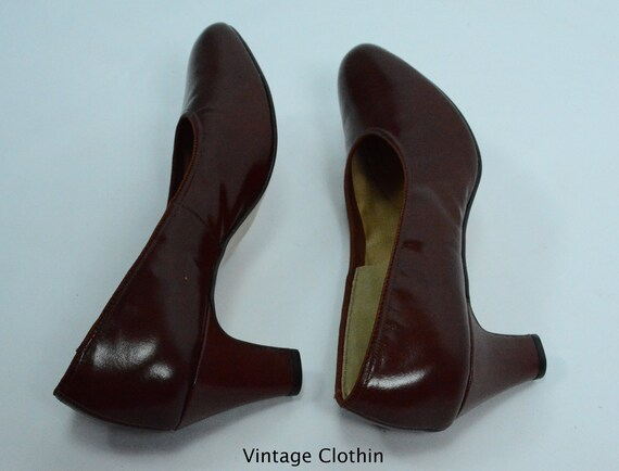 1980's does 1950s Penaljo Wine Color Pumps, New O… - image 7