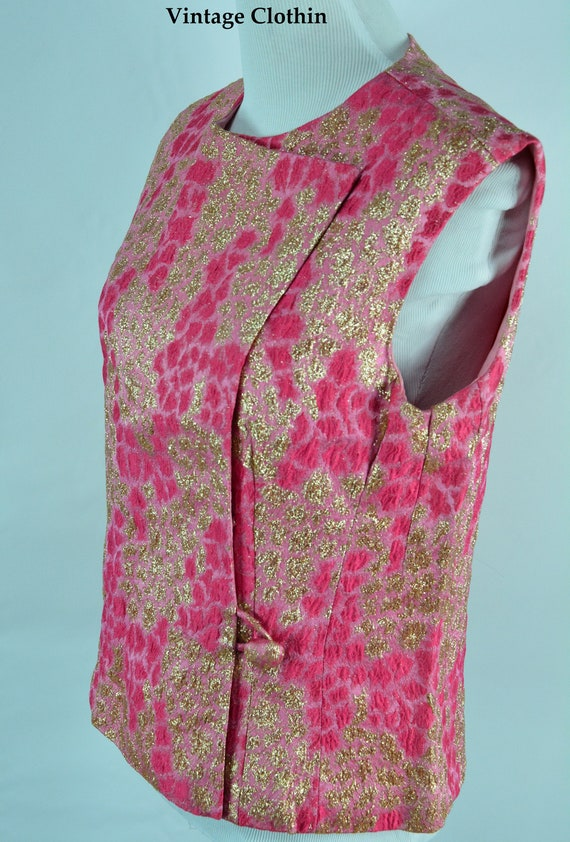 1960s Anne Klein Pink and Gold Brocade Top, Mod Sh