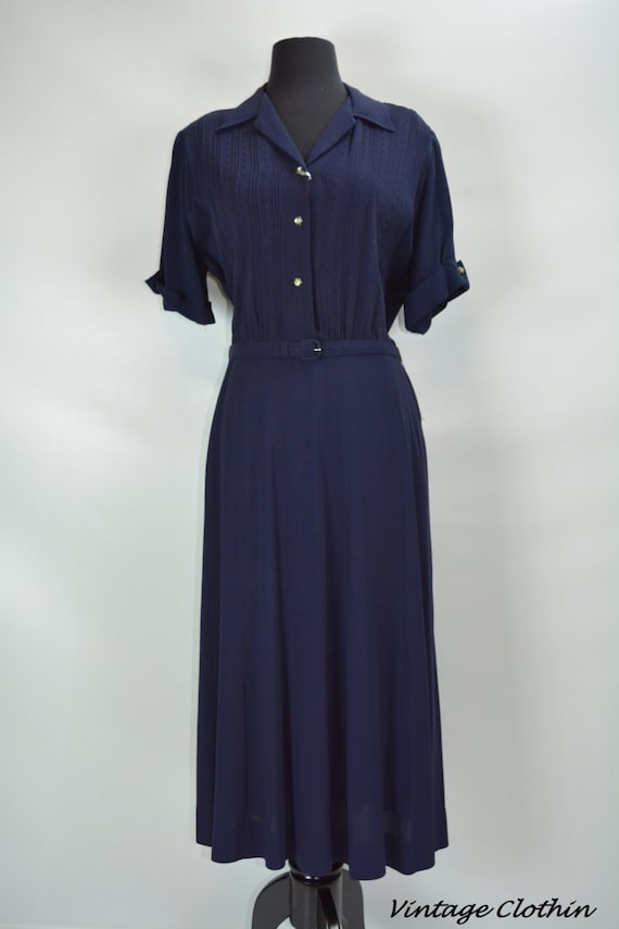 1940s Kay Harper Classics Navy Embroidered Dress … - image 2